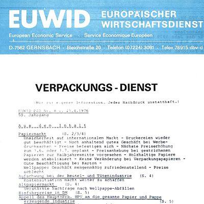 1977 EUWID Geschichte Verpackungs Nachrichten