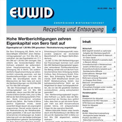 1990 EUWID Geschichte Recycling und Entsorgung