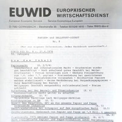 1970 EUWID history Papier und Zellstoff market data
