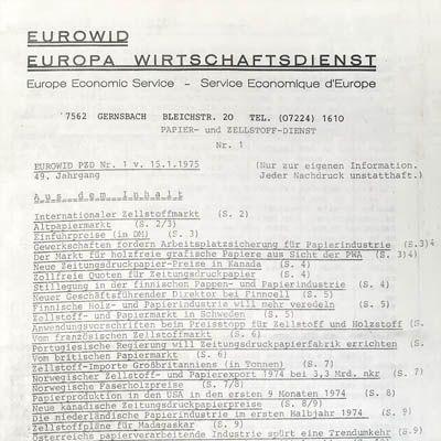1945 EUWID history plastic chemical fiber news