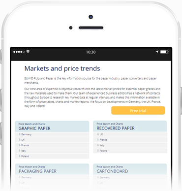 EUWID markets and price trends, mobile tablet
